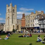 Walking Tour of Cambridge: View of King's Parade from King's College's front lawn, Cambridge, September 2020