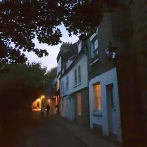 Cambridge Ghost Walks: Little St. Mary's Lane at night, Cambridge