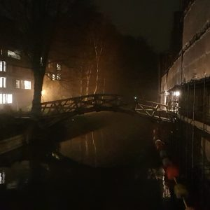 Cambridge Ghost Walks: The river Cam at night and the Mathematical Bridge, Silver Street, Cambridge