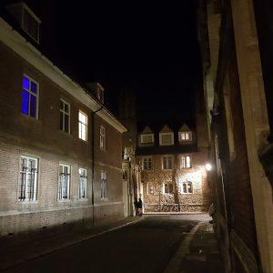 Cambridge Ghost Walks: Trinity Lane at night, Cambridge
